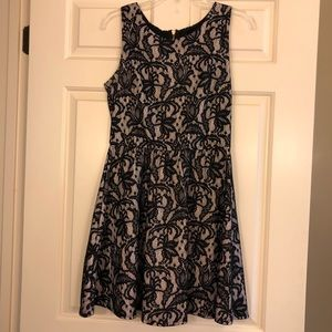 Black & off-white lace mid-length dress